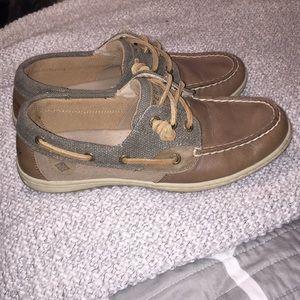 Grey Sperry boat shoe